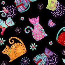 Fat trimestre cool chats noir quilting Tissu coton imprimé chats fantaisiste