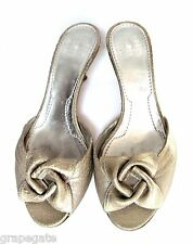 GIVENCHI Light-Gold Leather Open-Toe Heels/Slides/Shoes w/Flower Detail, 6,Italy
