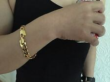 "Lifetime Guarantee 10mm 9"" 18K Gold Plated Chain Bracelet Anklet Boyfriend Gift"