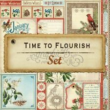 "GRAPHIC 45 ""TIME TO FLOURISH"" 12X12 PAPER PACK (24) ALBUM SCRAPBOOK CARDS"
