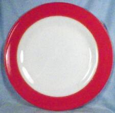 Pyrex Flamingo Pink Dinner Plate Coral Spray Mist Band on White Corning Vintage