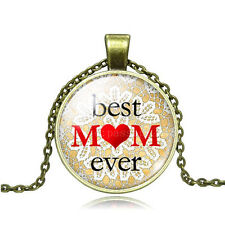 Vintage  BEST MOM EVER Cabochon Photo Bronze Glass Chain Pendant Necklace AY92