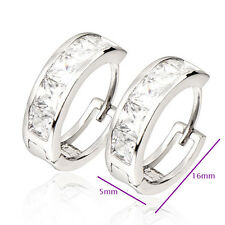 Cute 9K White Gold Filled Clear Square CZ Women Hoop Earring New Design Fashion