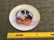 Vintage Collector Plate- Japanese Featuring A Puppy In A Basket  1960-1970's