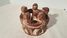 Circle Of Five 5 Friends Mexican Clay Folk Art Candle Holder