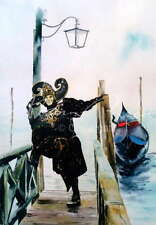 "NEW ORIGINAL ALAN REED ""The Jester"" Venice Carnival Gondola WATERCOLOUR PAINTING"