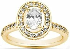 1.73 ct total 1 carat OVAL SHAPE DIAMOND Solitaire 14K Yellow Gold Halo Ring