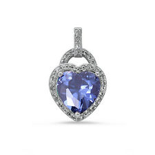 3.5ct Pave set Tanzanite & CZ Heart .925 Sterling Silver Pendant