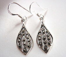 Marcasite Droplet Earrings Rope Style Accents 925 Sterling Silver Dangle