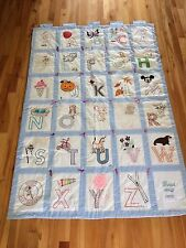 "Vintage 1978 Handmade Embroidered Alphabet ABC's Baby Quilt Hanging 62""x43"""