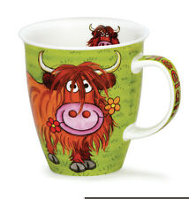 Colourful Highland Coo Cow Dunoon Fine Bone China Mug Nevis Shape