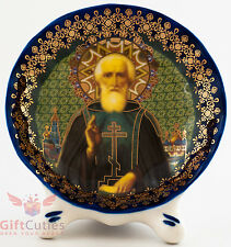 Porcelain gzhel decal plaque Icon Saint Sergius of Radonezh Cергий Радонежский