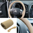 New Universal Leather Car Steering Wheel Cover With Needles and Thread beige