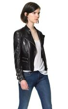 Zara Black Leather Biker Jacket With Quilted Sleeves Size S BNWOT