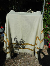 NAPPE /DECORATION EGLISE OU CHATEAU /TISSU BLAN CASSE, RUBAN FIL D'OR/DEBUT XXé