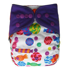 EcoAble Baby Charcoal Bamboo AIO All-In-One Cloth Diaper with Pocket, Candy