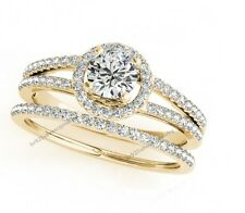 10K Yellow Gold Finish Round Diamond Engagement & Band 2Pcs Bridal Ring Set_08