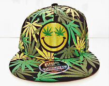 Hommes femme weed cannabis snapback caps hat dope peak baseball smiley face logo