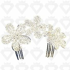 WEDDING SILVER BLING JEWEL BRIDAL DIAMANTE HAIR COMB FASCINATOR HAIRPIECE SLIDE
