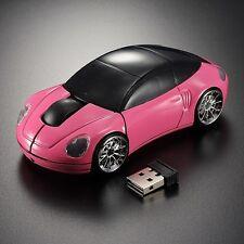 PINK 2.4GHz Wireless 3D 1600DPI Porsche Car Shape Mouse w/ Headlight Taillight