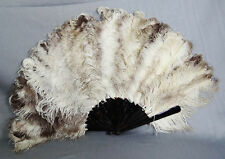 "25"" Large 19c.Antique Victorian Ostrich Feather Natural Material Handle Lady Fan"
