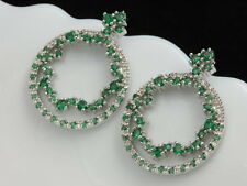 Gorgeous micro pave emerald green Cubic zircon wedding circle stud earrings A11