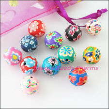 10Pcs Mixed Handmade Polymer Fimo Clay Round Spacer Beads Charms 12mm