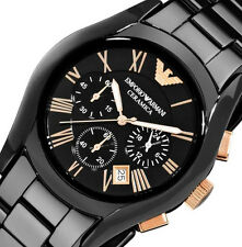 NEW EMPORIO ARMANI $545 Men's Ceramic Black SWISS Chronograph Dial Watch AR1410