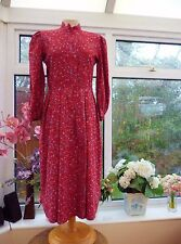 FABULOUS VINTAGE *VIVIEN SMITH* RED FLORAL PAISLEY SOFT FLANNEL COTTON DRESS 10