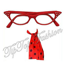 NEW LADIES RED GLASSES & RED SCARF FANCY DRESS GREASE 50'S 1950S COSTUME