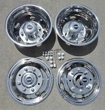 "FORD F450 F550 19.5"" 99-02 Stainless Dually Wheel Covers BOLT ON"