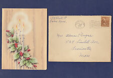 1942 CHRISTMAS CARD & ENVELOPE SENT FROM LEOMINSTER, MA TO LEOMINSTER, MA (1)