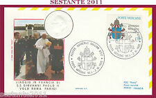 W221 VATICANO FDC ROMA VISITA PAPA GIOVANNI PAOLO II FRANCIA PARIGI VOLO 1980