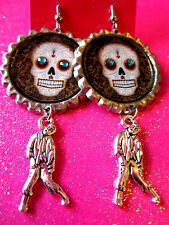 Day Of The Dead Sugar Skull With Walking Dead Zombie Dangle Charm Earrings #51