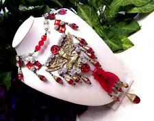 Vintage Art Deco Egyptian Revival Red Czech Glass Beaded Cicada Pendant Necklace