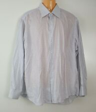 Gian Marco Venturi Men's Dress Shirt 17 1/2 - 44 Long Sleeve White Blue Checks