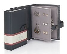 Small Little Book Of Earrings Grey 2 Page Jewellery Box Book Travel Size Gift