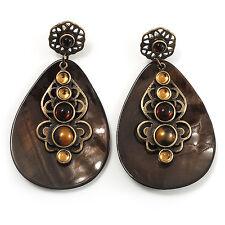 Vintage Teardrop Shell Amber Coloured  Resin Bead Drop Earrings (Bronze Tone)