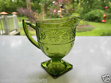 Indiana Glass Green Daisy #620 Sandwich Footed Creamer Pitcher