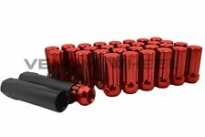 "NEW MODEL RAM 2500 3500 8X6.5 RED SPLINE LUG NUTS M14X1.5 2"" TALL W/2 KEYS"