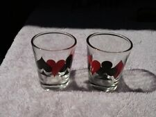 Set of 2 Poker Card Suits Shot Glasses   Clubs, Spades, Diamonds, Hearts