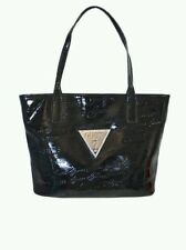 Guess Handbag Purse Solis Black PA431323 Satchel Logo Patent Leather New $88