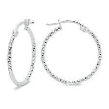 925 Sterling Silver 1 inch - 25mm Round Hoop Earrings Diamond Cut Finish Italy