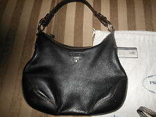 Prada Authentic  Black Leather handbag with cards and dust bag v good condition