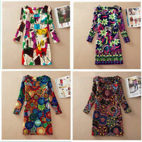Large size women's clothing 2015 autumn winter dress everyday printing lady