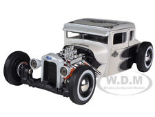 1929 FORD MODEL A WHITE HARLEY DAVIDSON 1:24 DIECAST MODEL CAR BY MAISTO 32175