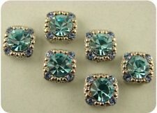 Beads Crystal Gala Aqua Sapphire Swarovski Crystal Elements 2 Hole Sliders QTY 6