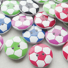 New 50pcs Football Wood Buttons 20mm Sewing Craft Mix Lots