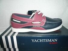 LADIES DECK BOAT SHOES NEW YACHTSMAN QUALITY REAL LEATHER NAVY/PINK SIZE 3UK