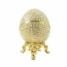 Faberge Egg 24K Gold Plated W/Swarovski Crystals & Gift Box Trinket Pill Jewelry